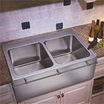 Double bowl top mount apron front sink by Just Manufacturing