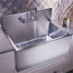 Single bowl apron front sink with backsplash by Just Manufacturing