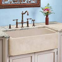 Marble apron front kitchen sink