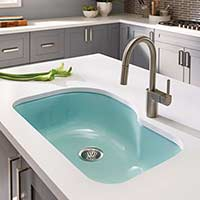 Porcelain enameled kitchen sink