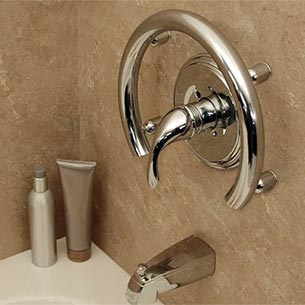 Accent ring installation example. Installed Example · Accent ring grab bar dimensions
