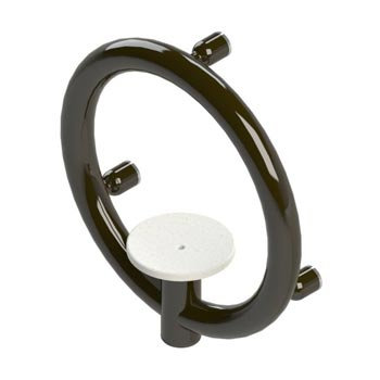 Round safety bar with soap dish in powdercoat oil rubbed bronze finish