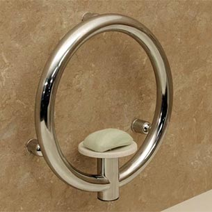 Circle-shaped grab bar with built-in soap dish installation example