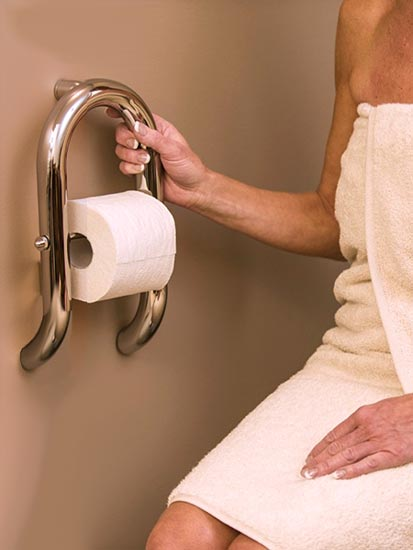 Safety bar with toilet paper holder being used. Dual purpose grab bars for your bathroom   Invisia  Collection