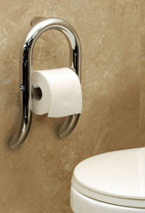 Example Of The Toilet Paper Tissue Holder With Grab Bar Shown In Polished Chrome
