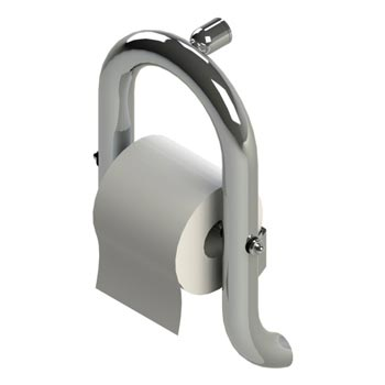 Toilet paper holder grab bar in chrome finish