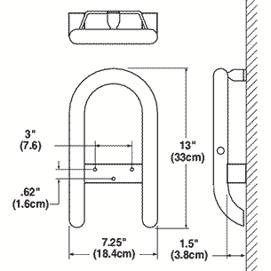 Grab bar with toilet paper holder dimensions