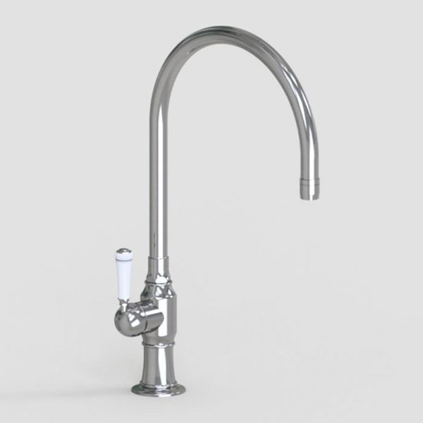 10in swivel spout with left hand traditional white ceeramic lever handle