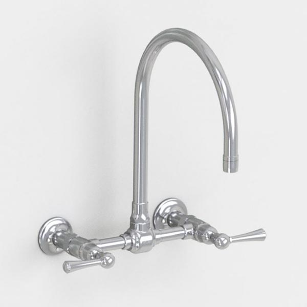 jaclo 10in swivel wallmount bridge faucet with metal lever handles