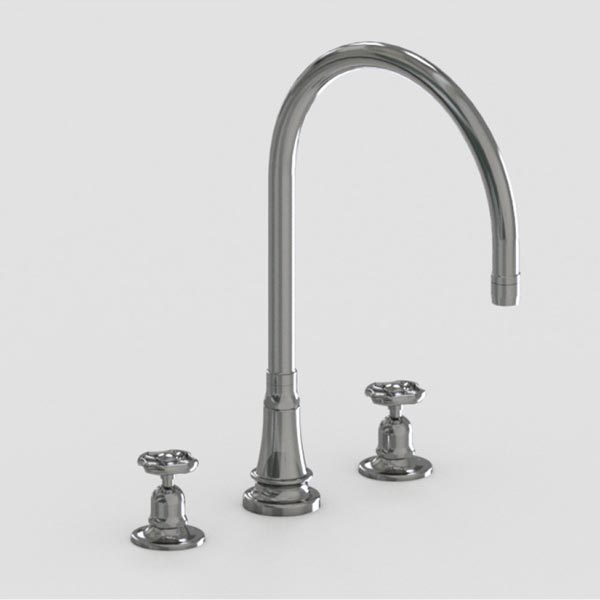 brushed stainless steel 10in three hole deck mount faucet -metal wheel handles