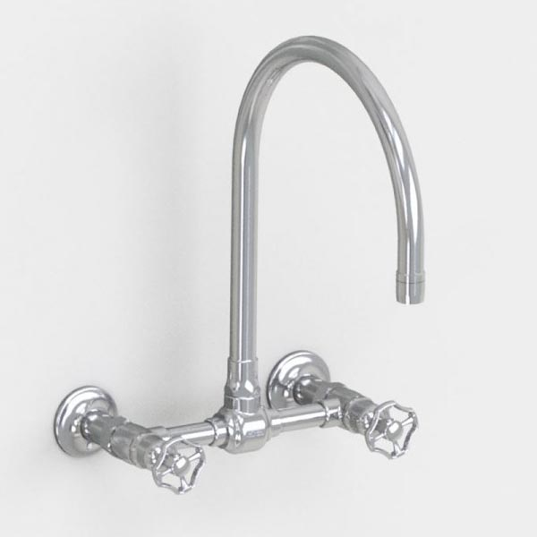 brushed stainless steel 10in wall mount bridge faucet -metal wheel handles