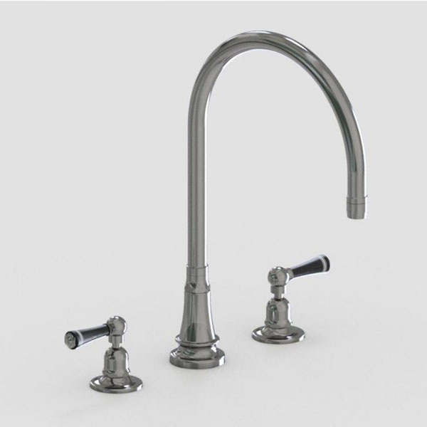 Jaclo 10in widespread three hole faucet with black lever handles