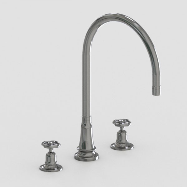 Jaclo 10in widespread three hole faucet with metal wheel handles
