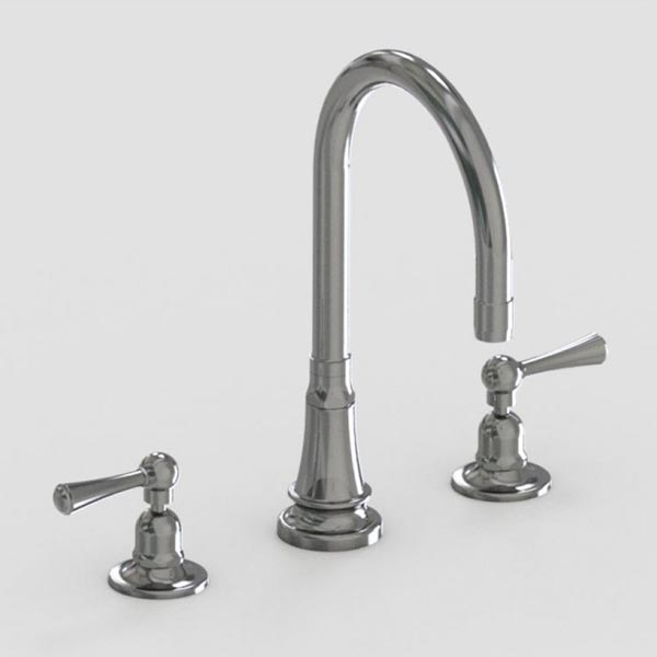 brushed stainless steel 7in three hole deck mount faucet - metal lever handles - metal wheel handles