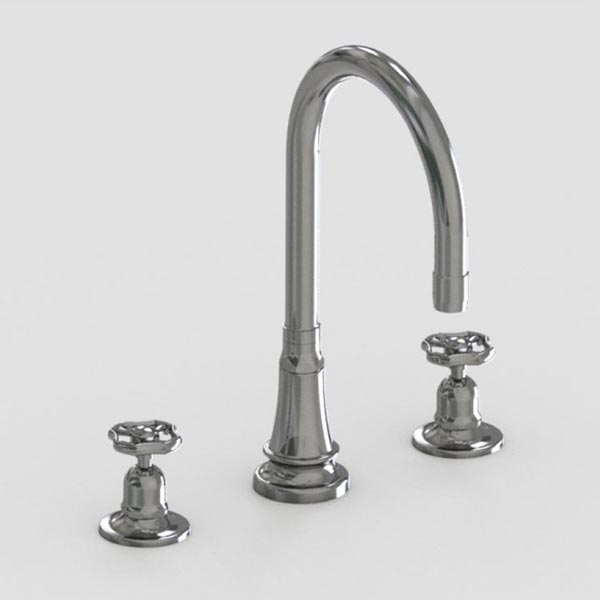brushed stainless steel 7in three hole deck mount faucet -metal wheel handles