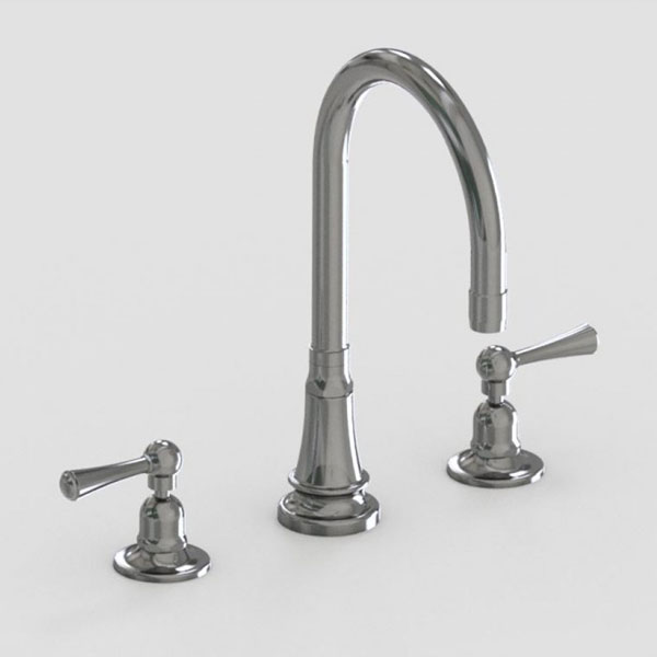Jaclo 7in widespread three hole faucet with metal lever handles
