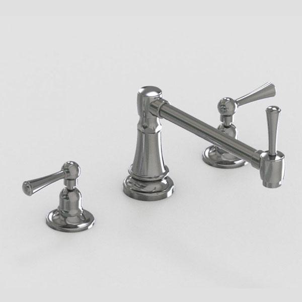 Jaclo 9in single articulated widespread faucet with metal lever handles
