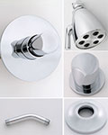 Jaclo Contempo thumb handle thermostatic shower system