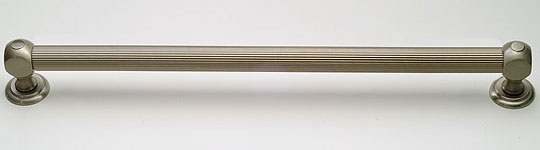 example of grab bars with reeded bar and transitional style ends, shown in antique brass
