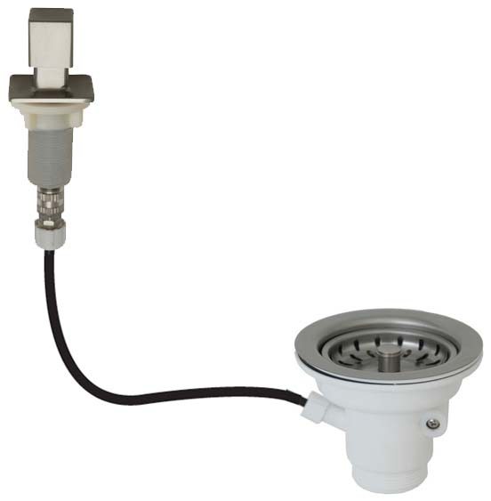 example of remote sink strainer with square push button - Kitchen Sink Strainer