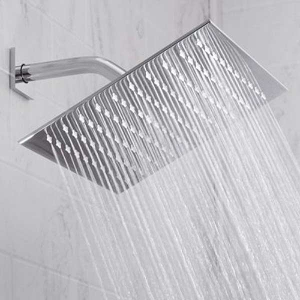 Jaclo Square Rain Machine shower head, shown in chrome