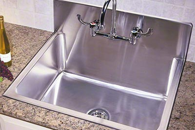 Just Mfg stainless steel single bowl drop-in kitchen sink with backsplash - Culinary/Gourmet Stainless Steel Kitchen Sinks