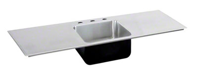 image of the double drainboard single bowl sink