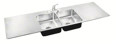 image of the dual drainboard double bowl sink