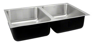undermount double bowl sink by Just Manufacturing