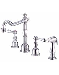 Opulence kitchen widespread faucet with side spray