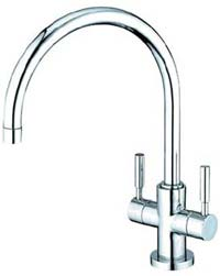Gooseneck faucet with twin lever handles