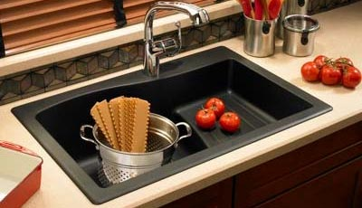 Granite kitchen sink with drainboard