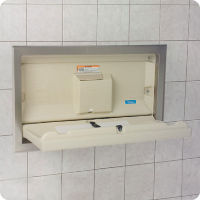 Koala Kare KB100 horizontal recessed wall mounted baby changing unit with stainless steel flange shown open in Cream
