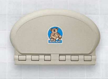 Koala Kare KB208 oval wall mounted baby changing unit in Sandstone