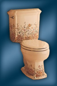 Kohler English Trellis pattern on two-piece Portrait toilet