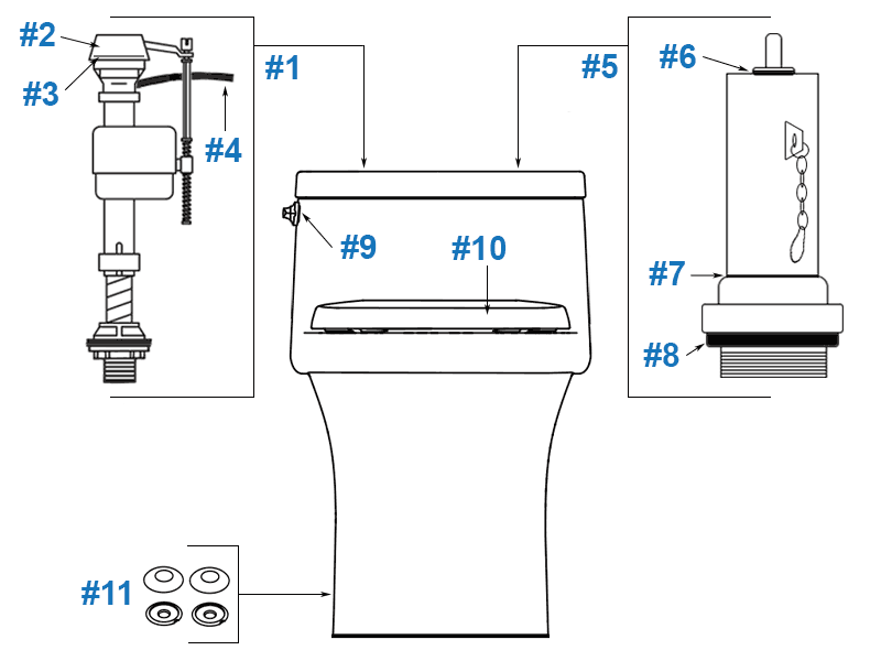 Parts diagram for Kohler San Souci one-piece toilet - model #K-5172
