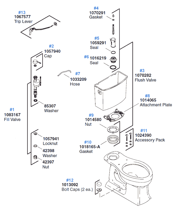 archer toilet replacement parts by kohler