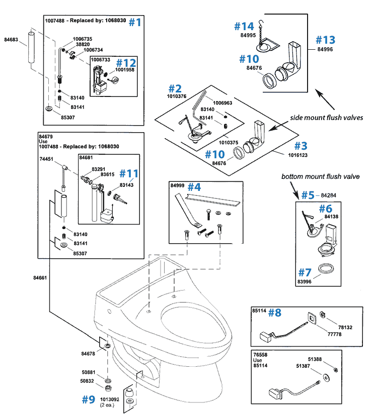 kohler toilet replacement parts for the san raphael series model k3384