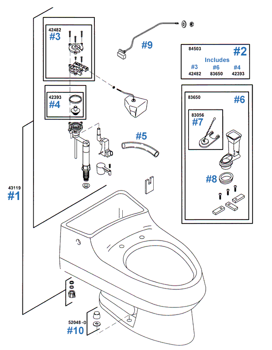 kohler toilet replacement parts for the san raphael series model k3395