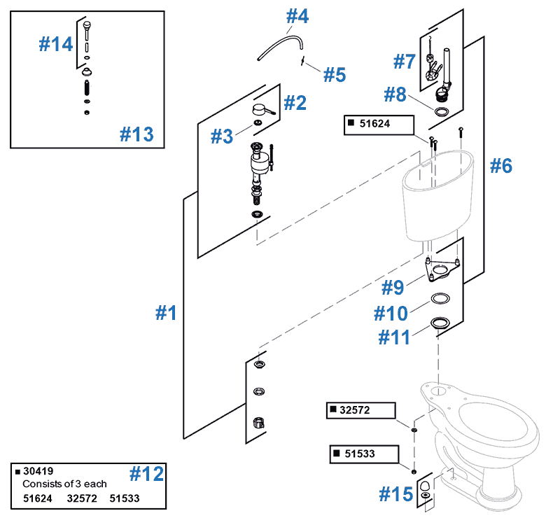 Revival two-piece toilet repair parts