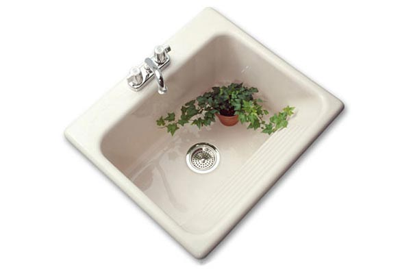 Drop-in thermocast acrylic laundry sink with built-in washboard