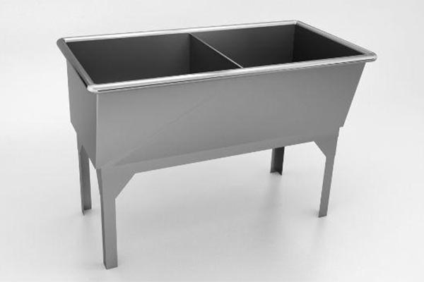 Free standing two compartment laundry tub sink