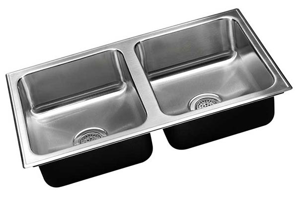 Stainless steel no ledge double bowl laundry sink