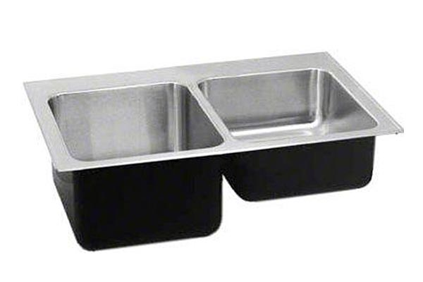 Stainless double bowl sink with hi-lo depths
