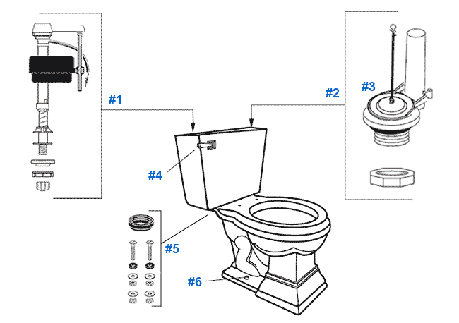 Parts diagram for Mansfield elegant two-piece Brentwood toilets