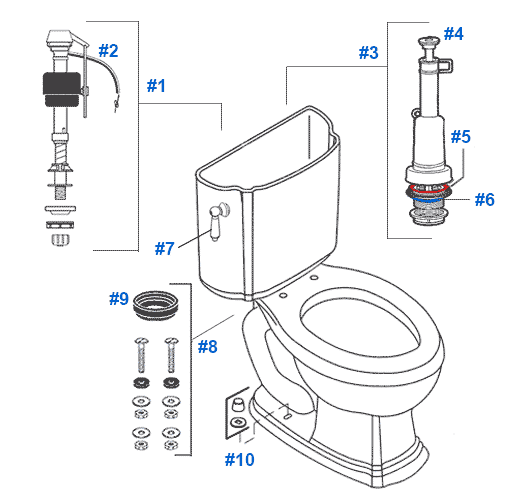 Mansfield Dominion Toilet Replacement Parts