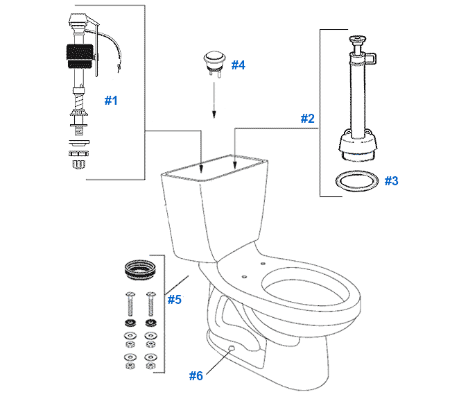 parts diagram for mansfield twopiece 10gpf maverick toilets