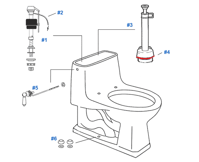 Parts diagram for Mansfield one-piece older style 1.6gpf Portobello toilets