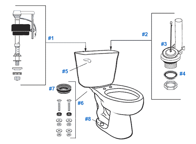 Parts diagram for Mansfield two-piece 1.6gpf Protector toilets