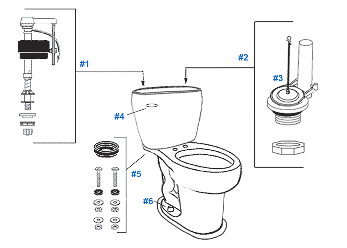 Parts diagram for Mansfield two-piece 1.6gpf Reo toilets